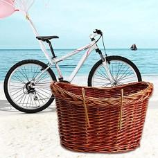 foreverwen Large Handmade Willow Bicycle Basket For Pet Diamondback Wicker Front Handlebar Bike Basket - B07G83QDCV