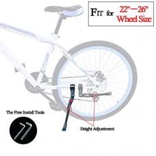 "Bike Stand - Adults Bike Kickstand - Lightweight Aluminium Alloy Bike Rear side Stand for City Bike Mountain Bike and Road Bike - Adjustable Length Fit Most Type of 22"" - 26"" Bike (Black) - B078NBV5VD"