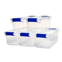 HOMZ 7.5 Qt. Plastic Storage Tote with Latches  5 Set Clear/Blue - B07GJDPVMD