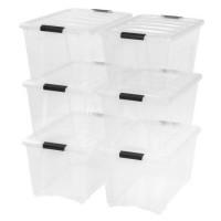 IRIS 54 Qt. Stack & Pull Plastic Storage Box  Clear Set of 6 - B07GCPTPWD