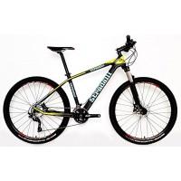 "Stradalli Blue/Yellow Full Carbon Fiber Hardtail Mountain Bike. 27.5"" MTB. 650b Shimano SLX. Suntour XCR 32 Fork. Jetset Wheelset. - B01M7YGNSO"