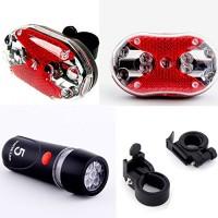 Dcolor Cycling Bicycle 5 LEDs Front Head light 9 LEDs Back Rear Flashlight Ultra Bright - B012CMJX74