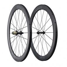 ICAN Aero Carbon Road Bike Wheelset 55mm Deep 25mm Wide Clincher Tubeless Ready 1605g - B07FFTQTV8