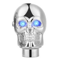 CoCocina Universal Silver Skull Manual Stick Gear Shift Lever Knob Head W/LED Light Eye - Blue - B07F846QYC