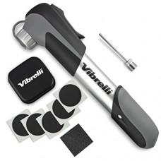 Vibrelli Mini Bike Pump & Glueless Puncture Repair Kit - Fits Presta & Schrader - 120 PSI - No Valve Changing Needed - B010JFWDHS