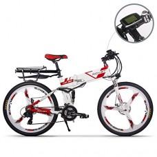 JIMAI RT-860 Mans Folding Electric Bike  Mountain Hybrid MTB Bike Bicycle Cycling Dual Suspension  250 Watt 36V 21 Speeds  With foot Bike Air Pump  A Tool set  one piece mounting tool speedometer - B0756CQHK3