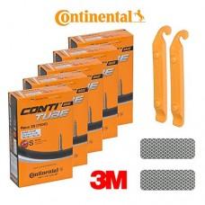 Continental Bicycle Tubes S42 Presta Valve 42mm Bike Tube - Bundle of 5 Tubes  2 Levers and 2 3M Reflexive Stickers (Diamond White) - B07CV5HN7C