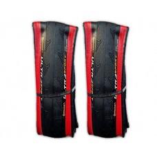 Continental Ultra Sport II 700x25c Red & Black Road Bike Folding Tires - PAIR 2 TIRES - B072VXH5R3
