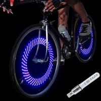 DAWAY A08 Bike Tire Valve Stem Light - LED Waterproof Bicycle Wheel Lights Neon Flashing Lamp Glow in the Dark Cool Safe Accessories  1 Pack/ 2 Pack - B019DUQO0W