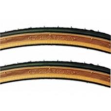 "Kenda K35 Classic Brown Sidewall 27 x 1-1/4"" Road Bicycle Tires Wire Bead - PAIR (2-TIRES) - B077YX4MBQ"